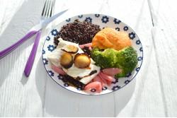 Poisson du jour & riz noir + Crème chocolat