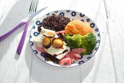 Filet de lieu, riz noir & légumes + Crème chocolat