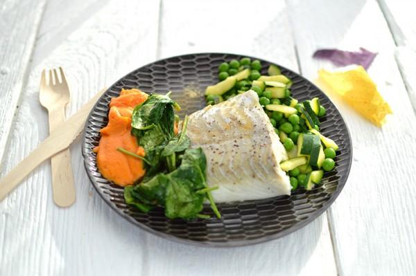 Poisson, purée & légumes verts + Pain +