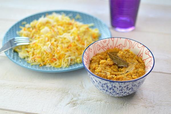 Curry lentilles & riz + Pain + Gâteau de semoule