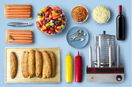 20 HotDog (pain, saucisse, fromage, oignon frits & sauce), 1,5kg crudité, 10 Tartelettes & corbeille de fruits frais